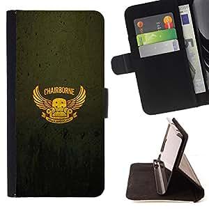 BullDog Case - FOR/Apple Iphone 6 / - / Chairborne - Funny Poster /- Monedero de cuero de la PU Llevar cubierta de la caja con el ID Credit Card Slots Flip funda de cuer