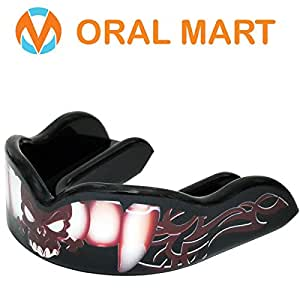 """Oral Mart""""Charming Vampire Mouth Guard - Custom Design Sports Mouthguards (Adult, Black Vampire) - Boxing, Sparring, Kickboxing, MMA, UFC, Muay Thai (with Free Case)"""