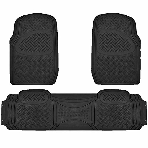 U.A.A. Inc Heavy Duty Solid Rubber Floor Mats for Car SUV Van Truck (Black)
