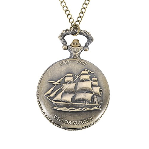 Adealink Vintage Steampunk Sailing Boat Ship Case Pocket Watch Pendant Necklace Chain Quartz Fob Watches