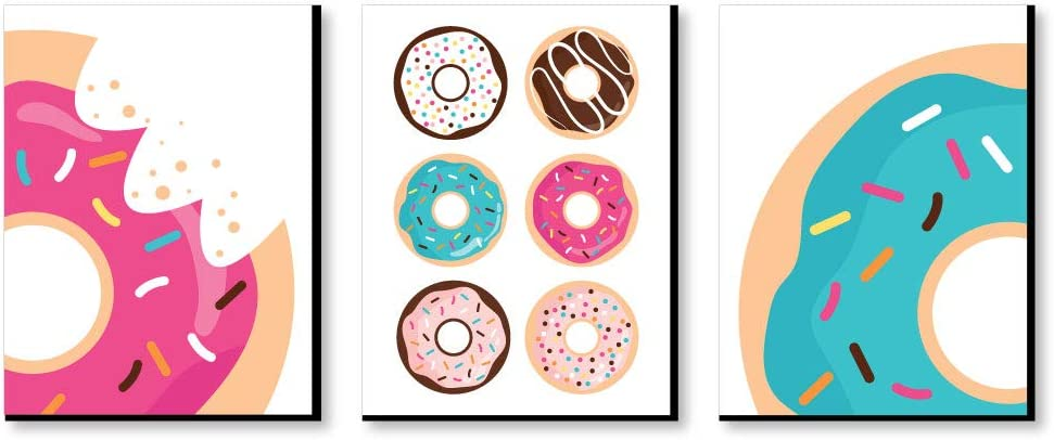 Big Dot of Happiness Donut Worry, Let's Party - Doughnut Kitchen Wall Art, Nursery Decor and Restaurant Decorations - 7.5 x 10 inches - Set of 3 Prints