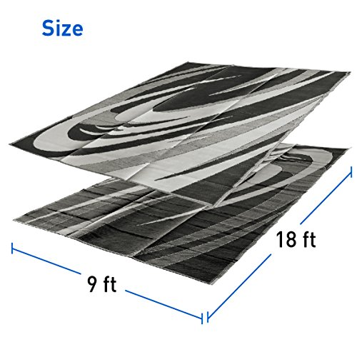 Rv Mat Awning Mat - EasyGoProducts RV Camping Mats (9x18 Black & White)