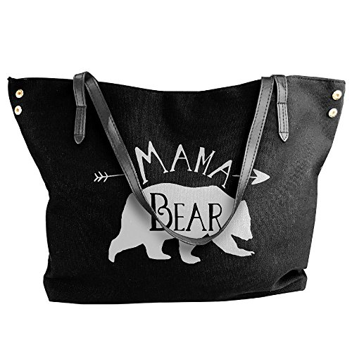 Women's Bear Canvas Tote Shoulder Handbag Large Black Bag Mama Hand S4FSO