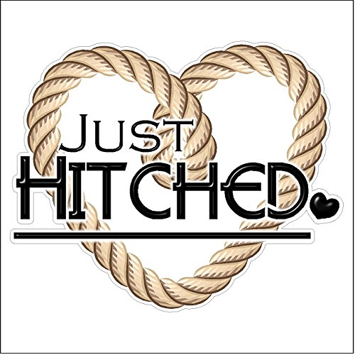 Just Hitched...Wedding Static Cling Window Decals Removab...