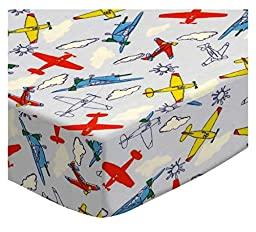 SheetWorld Fitted Pack N Play Sheet - Kiddie Airplanes - Made In USA