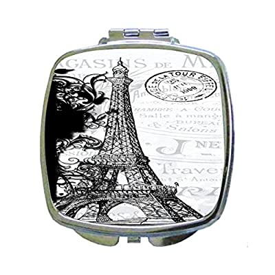 Black and White Vintage Style Eiffel Tower Paris Design - Compact Mirror in Silvertone - Square Shaped - Pocket Sized free shipping