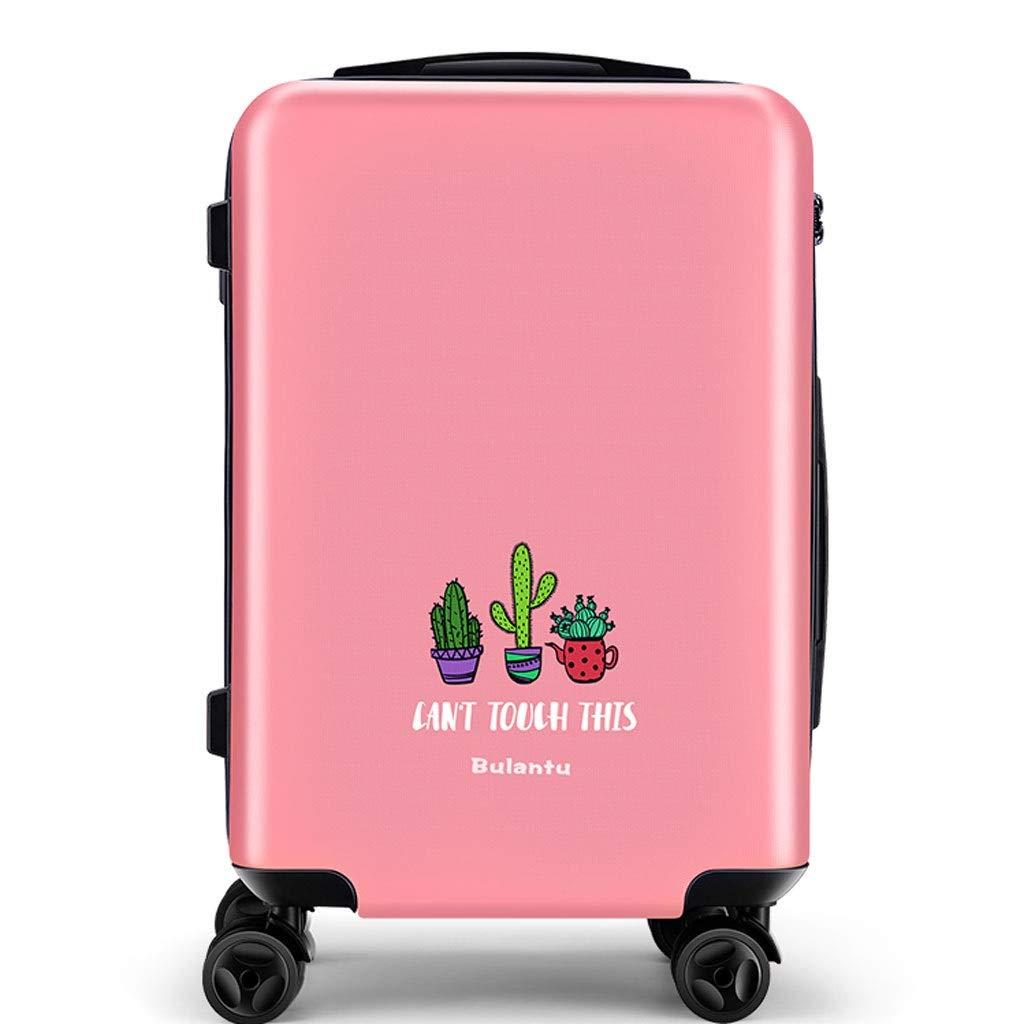 トロリーケース- ユニバーサルホイール男性と女性のトロリーケース18/20インチ、学生クリエイティブサボテン荷物ロック24インチ (Color : Pink B, Size : 24in) B07VFFVSLY Pink B 24in