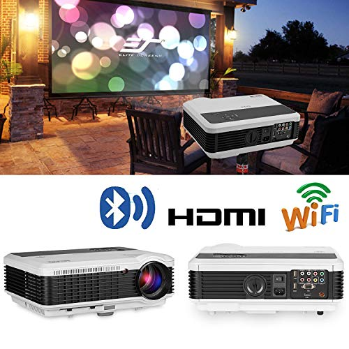 (EUG Wireless Projector HD 1080P 4600 Lumen Video Projectors Outdoor Movie Android System,Airplay Miracast Wifi USB HDMI LED LCD Multimedia Projeyector for Home Theater Game Consoles Apps PC DVD)