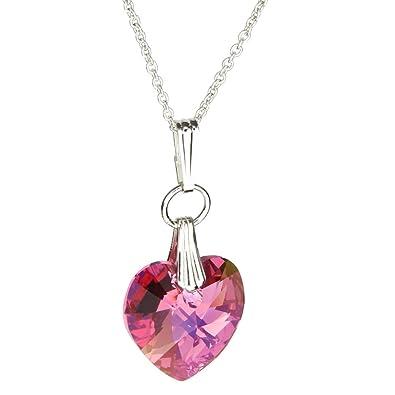 Amazon joyful creations pink sterling silver cable chain amazon joyful creations pink sterling silver cable chain necklace heart pendant made with swarovski crystals 14 crystal jewelry jewelry aloadofball Images