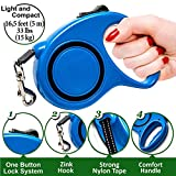 Retractable Dog Leash - Pet Dog Cat Leash 16.5 ft Long for Small Medium Breed and Puppy 33 lb - Best Dog Training Walking Durable Leash Retractable - Automatic Tape Retractable Leash Blue