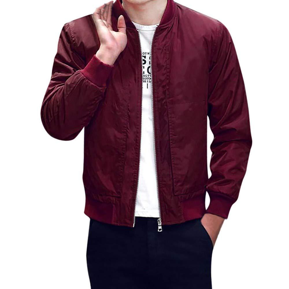 Pervobs Men Winter Warm Jacket Solid Slim Zipper Coat Overcoat Outwear Tops Blouse