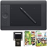 Wacom Intuos Pro Pen and Touch Tablet 16 GB JumpDrive Lexar USB with Corel Paint Shop Pro, Medium
