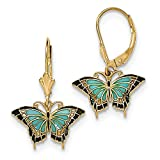 14K Gold Butterfly w/Aqua Stained Glass Acrylic Wings Hook Earrings