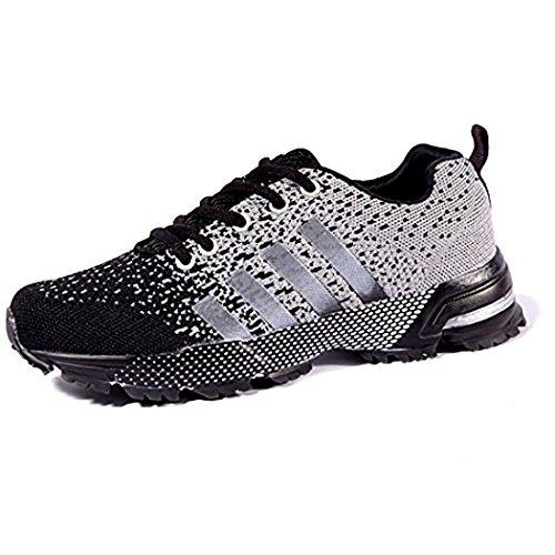Himall der Frauen Männer Unisex Jogging Trail Road Trainer Turnschuhe laufen Walking-Schuhe für Outdoor Sport Liebhaber Weiß EU 44
