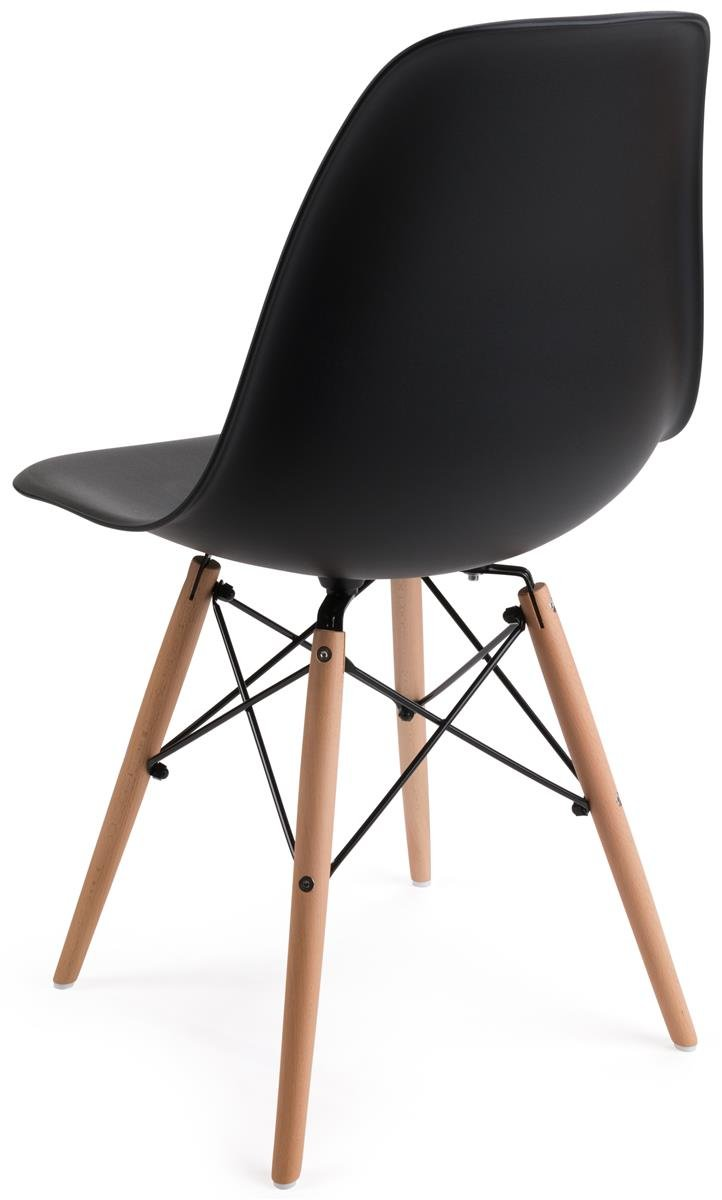 Displays2go, Modern Chairs, Metal, Plastic, and Wood Construction – Black, Natural Finish (FDC32WDBLK) by Displays2go (Image #2)