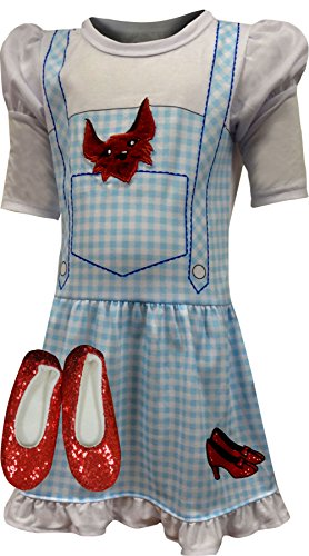 The Wizard of Oz Toddler Girls' Dorothy Costume Pajama Gown with Fleece Lined Ruby Slippers, Blue, 4T