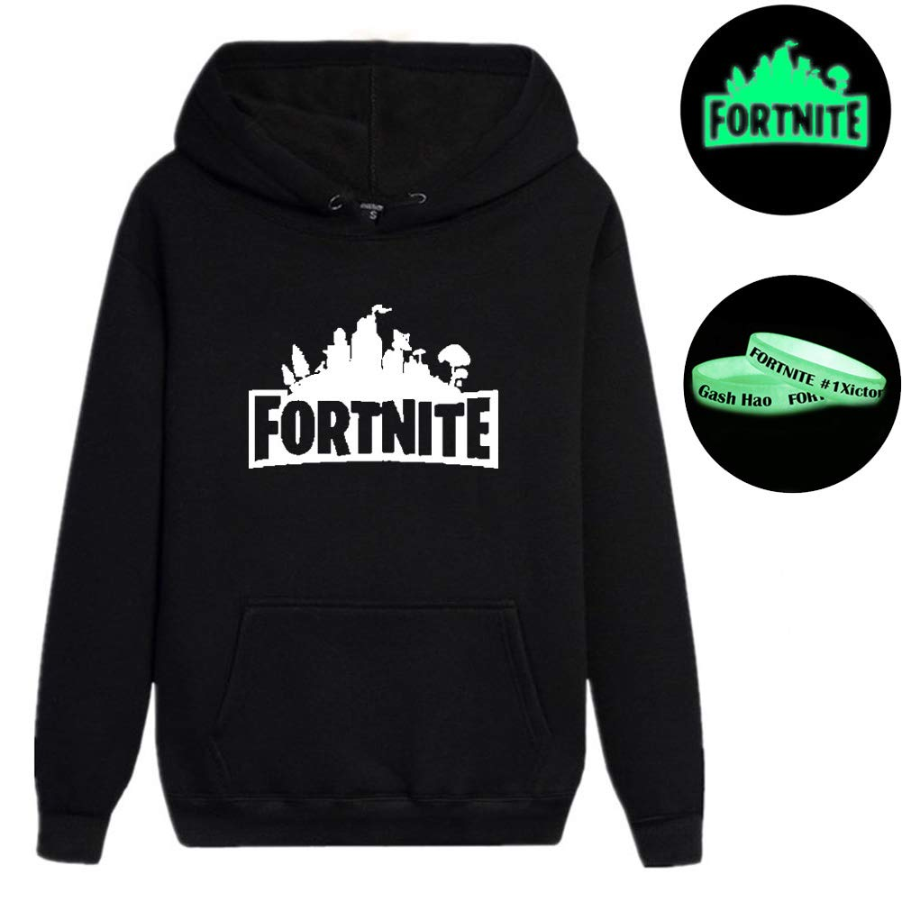 Gash Hao Mens Halloween Fortnite Luminous Hoodie Long Sleeve Casual Sweatshirt Black