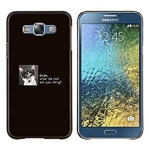 KLONGSHOP // Cubierta de piel con cierre a presión Shell trasero duro de goma Protección Caso - Tío Gato divertido - Samsung Galaxy E7 E700 //
