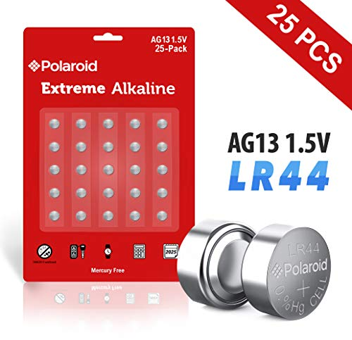 Polaroid Extreme GPA76 LR44 AG13 1.5V Button Cell Alkaline Batteries Hexbug Compatible (25-Pack) (Hallmark Ornaments Selling)