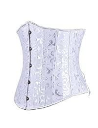 Tricandide Womens Waist Corsets Underbust Embroidered Lace Up Back Corset White XL