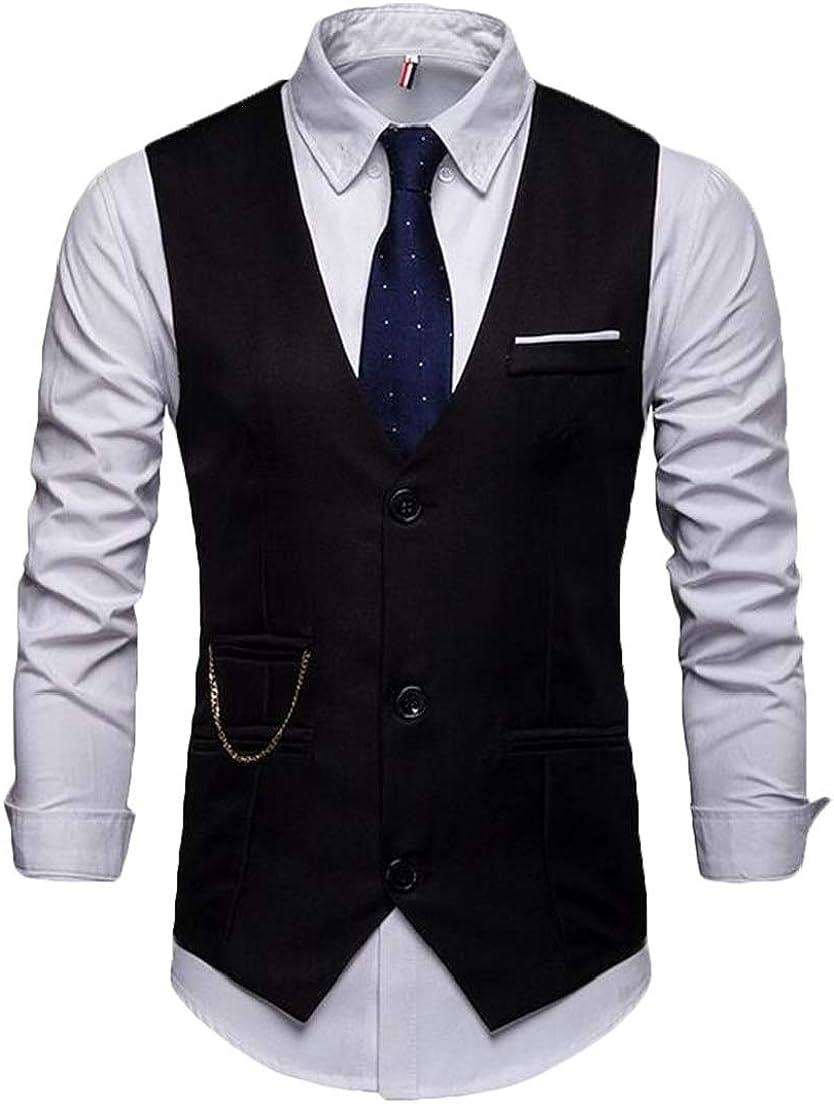 CRYYU Men Slim Fit Single Breasted Stylish V-Neck Casual Suit Dress Vest