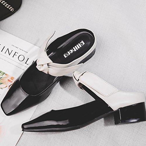 Mules Mary OL Élégant Sandales Femmes Vernis à Été Jane Chaussures Sandales Noir Nœud Talons Ouvert Blanc qqFgr0
