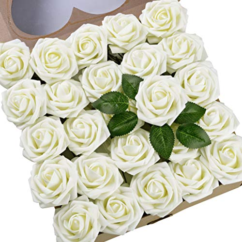(Umiss Roses Artificial Flowers Fake Flowers Wedding Decorations Set 50pcs Artificial Flora DIY Wedding Home Office Party Hotel Restaurant Patio Yard Decoration (Ivory))