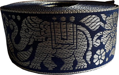 KVR Nylon Silk Woven Jacquard Embroidered ribbon Lace 16 yard in a roll, 1.4 inch wide for art craft decoration and gift packing (Combo-5)
