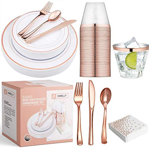 KWELLY Disposable Plastic Tableware Set | Includes Plates, Cutlery, Napkins & Cups for Dinner, Party, Bridal Shower, Birthday & Christmas | No BPA | 160 Pieces Rose Gold Fancy & Elegant Silverware]()