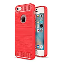 MOONCASE iPhone SE Case, Carbon Fiber Resilient [Drop Protection] [Anti-Scratch] Rugged Armor Case Cover for iPhone 5 / 5S / iPhone SE Red