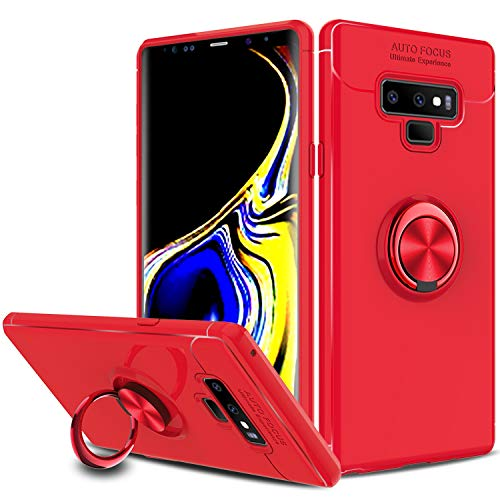 Galaxy Note 9 Case, Zenic Slim Hybrid Defender Armor 360 Degree Rotating Ring Kickstand Protective Case with Magnetic Case Cover for Samsung Galaxy Note 9 / SM-N960U(Red) ()