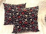 Stuffed Cotton Pillow - (1) 16'' Christmas Birds Pillow, Winter Joy, Love, Peace, Holiday, Black, Red, Sofa Pillow,