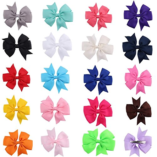 Bead Brown Lip Shell (Happy Hours - 20 Pcs Kids Grosgrain Ribbon Hair Bows Clips Kits / Boutique Teens Children Little Girls Baby Toddlers Alligator Barrettes Hairpin Set(20 Pieces))