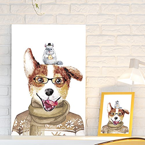 Dogs Series Funny Painting of Mr Dog and His Friend Mr Hamster
