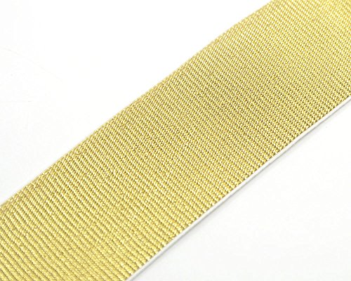 Sewing Elastic iCraft 2-inch Wide Soft Gold and Silver Glitter Elastic Bands By 3-yard Gold Glitter in White Waistband Elastic by iCraft