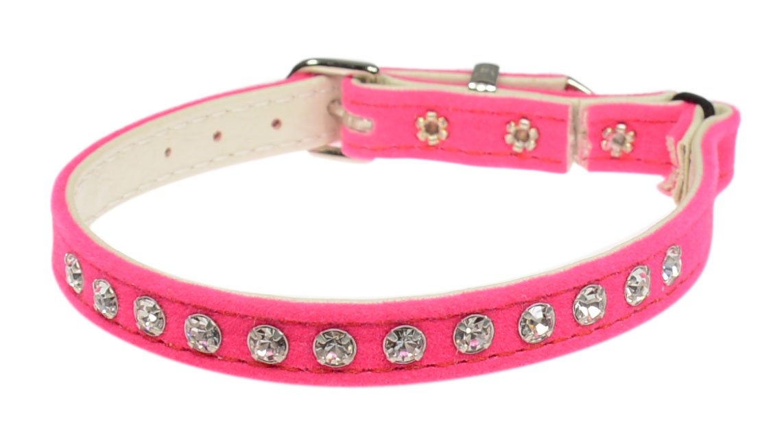 Evans Collars Jeweled Cat Safety Collar with Elastic, Size 8, Velvet, Pink