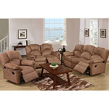 good looking microfiber living room set. Poundex F6687 F6688 F6689 Saddle Microfiber Fabric Sofa Set With Recliners Amazon com