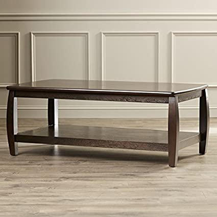 Superbe Coffee Table Smooth Rounded Table Top Edges And Bowed Legs One Large Bottom  Shelf Finished Wood
