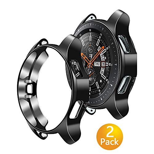 Tensea Compatible with Samsung Galaxy Watch 46mm Case 2018 (SM-R8050 and SM-R800), Samsung Gear S3 Frontier Case 2017 (SM-R760), 2 Packs Shock Absorption Cover Soft TPU Bumper Shell (Black, 46mm) (Sexy Galaxy S3 Case)