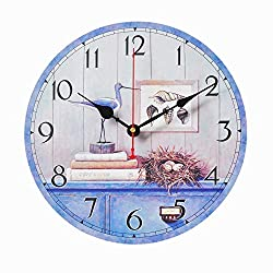 ColorSpring Battery Operated Non Ticking 12 inch - Shells and Birds Wood Wall Clock - Analog Quartz Wooden Kitchen Wall Clocks Large Decorative for Bedrooms, Living Room, Bathroom