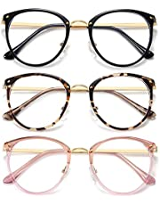 HILBALM (3 Pack) Blue Light Blocking Glasses Womens Computer Eyeglasses Metal Frame Glasses