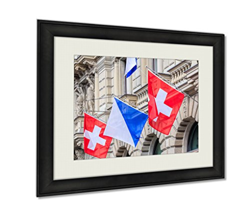 ashley-framed-prints-facade-of-the-credit-suisse-building-decorated-with-flags-artwork-decoration-ph