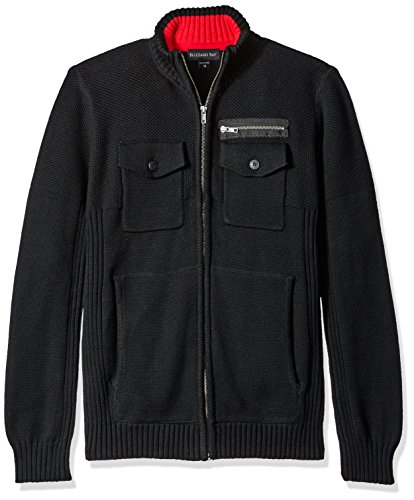Blizzard Bay Men's Four Pocked Zip up Sweater, Black, XX-Large