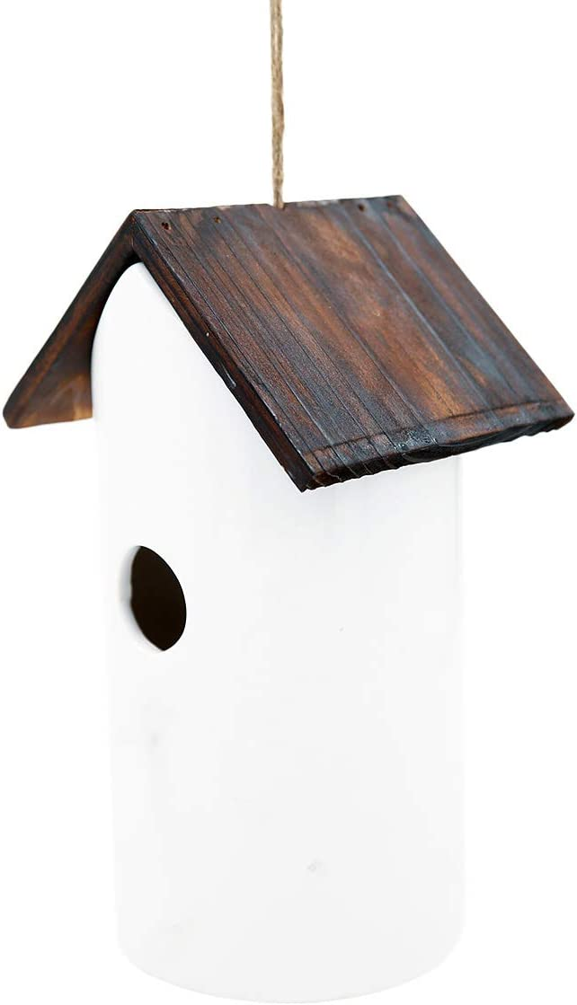 Bird Houses White Ceramic and Wooded Restful Birdhouse for Outdoor Garden Porch Patio Country Decoration, Restful