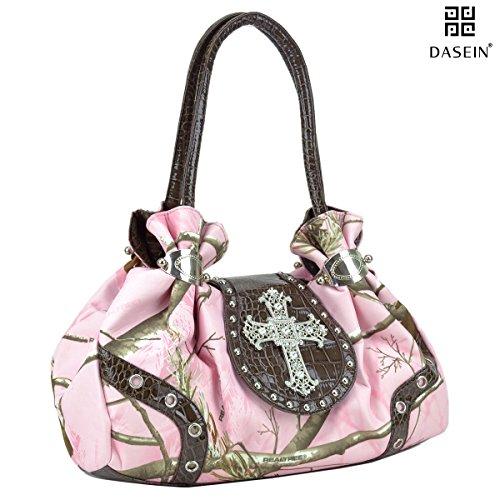 Dasein in Realtree Camouflage Purse Studded Shoulder Bag with Rhinestone Cross Rhinestone Accented Handbag Purse