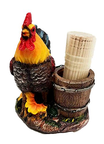Ebros Country Barnyard Rooster With Farm Wooden Pail Toothpick Holder Statue With Toothpicks Starter Kit Set Morning Bright Sunshine Chicken Decor