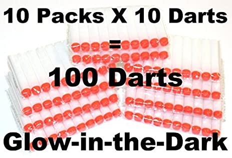 100 White Glow in Dark Soft Darts Refill: Refill for Nerf N-strike Elite