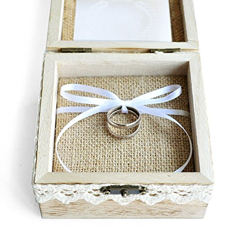 Personalized Wedding Ring Box Custom Wood Wedding Ring Box Rustic Wedding Ring Bearer Box by weddinghanger2015 (Image #1)