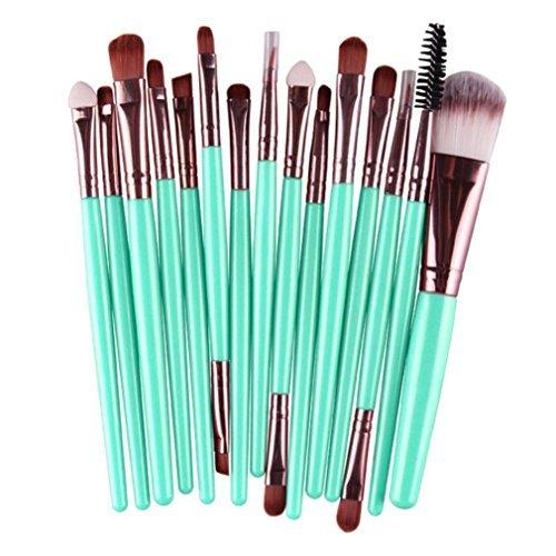 Sankuwen 15PCs Wool Makeup Brush Set Tools Toiletry Kit (L)