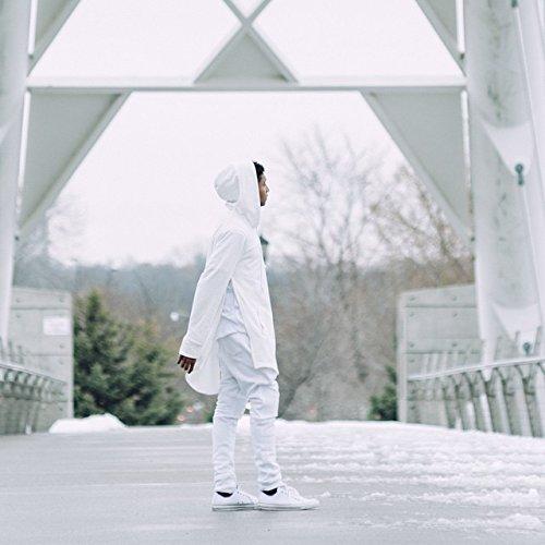 OLRIK Mens Hipster Hip Hop Elong Pullover Hoodie Shirts White M